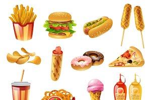 Fast food restaurant menu icons