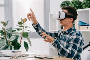 businessman in virtual reality heads