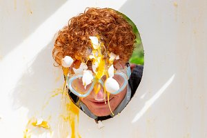 Man in a Dutch egg toss game