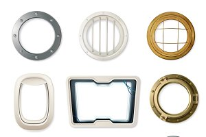Set of realistic portholes