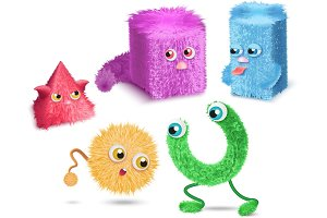 Funny cartoon hair fur monsters