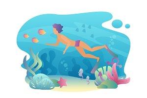 Man snorkeling diving underwater