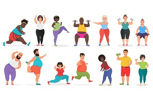 Fat cute people doing fitness