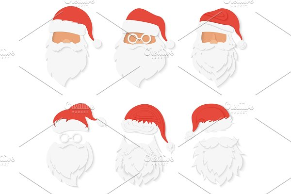 Santa Clause paper cuted face