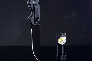 Knife and lantern. Black knife and l