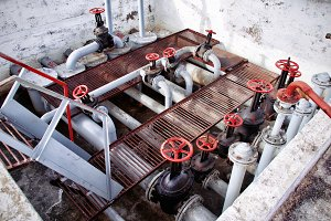 old Oil and gas pipe line and valves