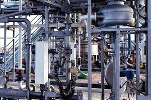 Pressure gauge psi meter in pipe and