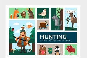 Flat hunting infographic template