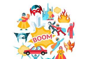 Flat superheroes round concept