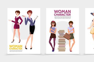 Flat woman characters posters