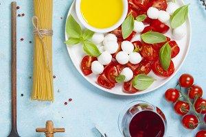 Italian antipasti snack for wine. Ca