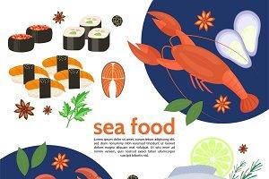 Flat natural sea food template