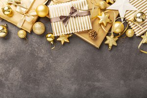 Golden silver christmas deco on grey