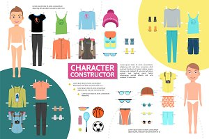 Athlete character infographic set