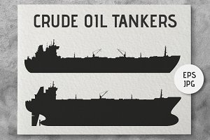 Oil tankers silhouettes set. Vector