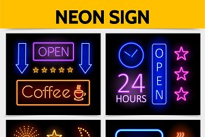 Modern digital advertising neon set