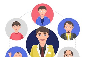 People aging process concept