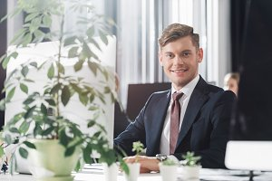 handsome young businessman sitting a
