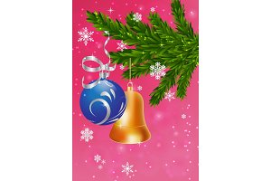Christmas card with fir tree