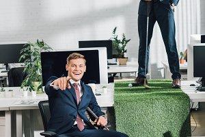 happy young multiethnic businessmen
