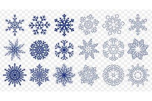 Vector set of blue snowflakes