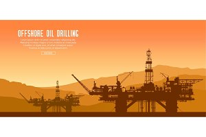 Offshore oil rigs at sunset. Vector.