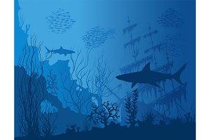 Blue underwater vector landscape