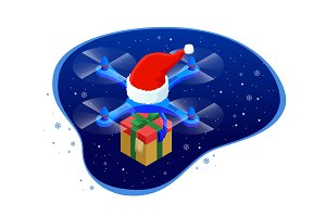 Isometric dron Santas hat delivering