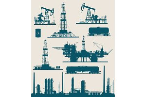 Oil and gas industry vector set