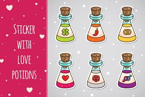 Sticker with love potions