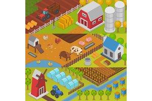 Farm vector agriculture landscape