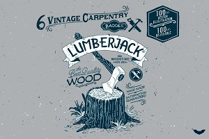 6 Vintage Carpentry Badges