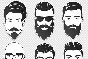 Bearded hipster men stickers faces