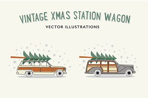 Vintage xmas station wagon vector
