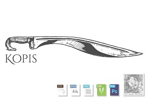 illustration of kopis sword