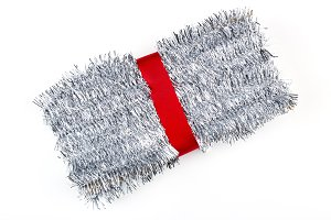 Christmas decorations silver tinsel