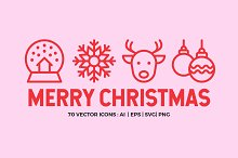 20% OFF Merry Christmas | Line icons