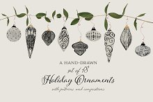 Hand-Drawn Holiday Ornaments & More by  in Illustrations