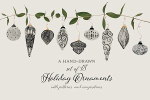 Hand-Drawn Holiday Ornaments & More
