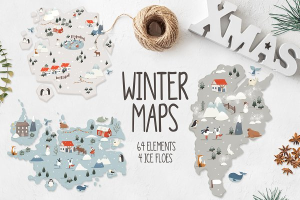 Illustrations and Illustration Products: Natdzho - Winter maps