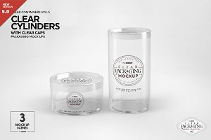 Clear Cylinders Clear Caps Mockups