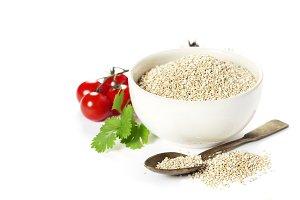 Bowl of healthy white quinoa seeds w