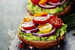 Tasty homemade sandwiches with avoca