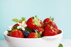 Ripe berries in colander