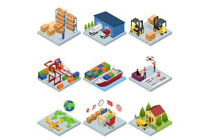 Different Types Warehouse 3d Set