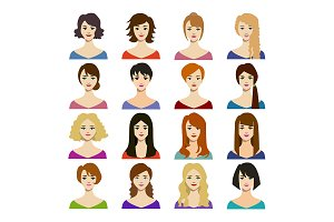 Cartoon Woman Hairstyles Icons Set.