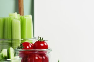 Assorted fresh vegetables with dip a
