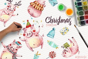 Watercolor Christmas pigs