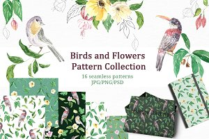 Pattern Collection Birds and Flowers