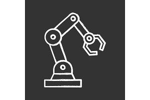 Industrial robotic arm chalk icon